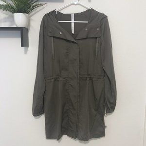 NWOT Lululemon Army Green Hooded Trench Coat